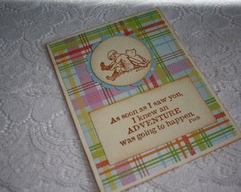 Classic Winnie the Pooh and Christopher Robin Greeting Card
