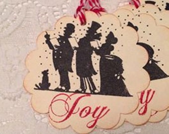 Handmade Carolers Stamped Gift Tags - Joy