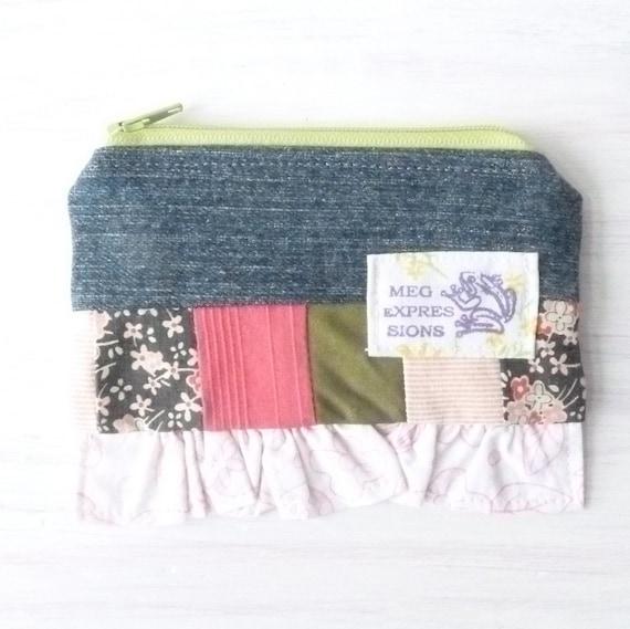 Denim Patchwork Zipper Pouch - Gifts Under 5 - Cotton Card Pouch - Vegan Teen Girl Gift Ideas - Womens Change Purse