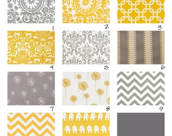 Custom Crib Bedding-3 piece-Yellow and Grey