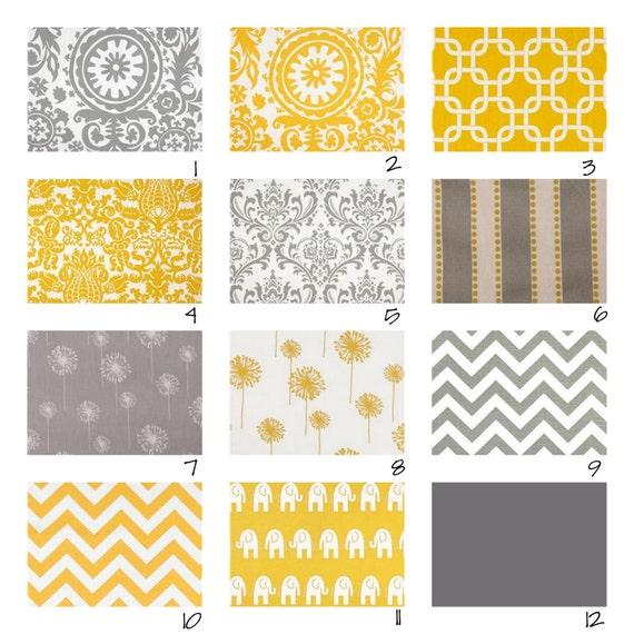 Custom Crib Bedding-3 piece-Yellow and Grey