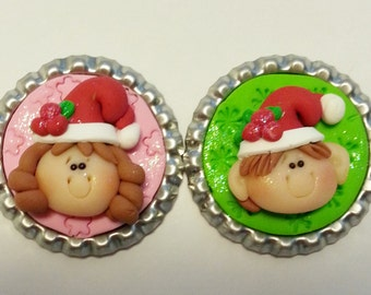 Christmas Girl and Boy Polymer Clay Bottle Cap Bead, Scrapbooking, Bow Center, Pendant, Cupcake topper, Magnet