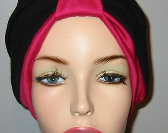 2-Tone  Rose and Black   Knit Turban, Chemo Hat, Snood, Womens Hat