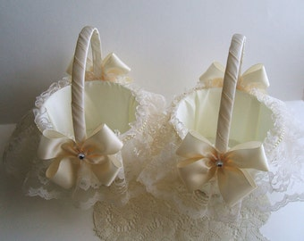 Pair of Wedding Flowergirl Baskets Handmade Nuance with Lace Skirt Choose White or Ivory