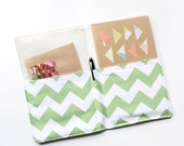 Portfolio Notepad Organizer, Green and White Chevron Journal Cover, More Colors Available