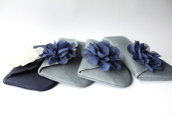 RESERVED - Bridesmaid Clutch, Wedding Clutch Purse, Gray Navy and Ivory,  Set of 4, Design Your Own, Choose Colors Aqua Pink Ivory