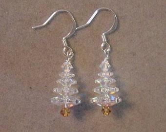 Christmas Jewelry Earrings - CHRISTMAS TREE Earrings Swarovski Crystal AB - Choice Silver or Gold