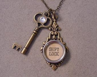 Typewriter key Jewelry Necklace Shift LOCK & KEY Typewriter Key Necklace and Antiqued Brass Skeleton Key Necklace