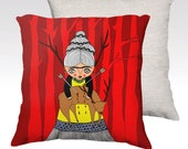 Pillow Case - Oh Deer Frida - Frida Kahlo - home decor - velveteen - 22x 22 inches - 18 x 18 inches - red