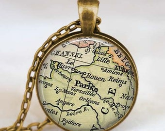 Paris map necklace, Paris vintage map pendant, Paris map jewelry , map pendant charm with gift bag