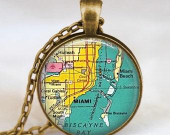 Miami florida map necklace, Miami map pendant, Miami florida map jewelry , map pendant jewelry  with gift bag