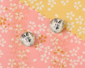Sale - 10pcs handmade rabbit round clear glass dome cabochons 12mm (12-9955)