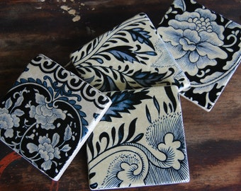 Unique Stone Coasters - ivory & blue floral