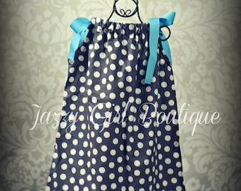 Girls Pillowcase Dress Grey Dot with Bright Blue Bows at each Shoulder  Sz 6mo, 12mo, 18mo, 2T, 3T, 4T, and 5