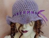Purple hat, wool hat, flare hat, winter wear, womens accessory