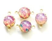 Vintage Harlequin Opal Glass Stones 2 Loop Brass Settings 12mm rnd004DD2