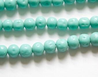 Vintage Green Turquoise Glass Baroque Beads Japan 8-9mm (6) jpn006B