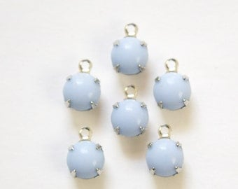 Vintage Periwinkle Blue Glass Stone 1 Loop Silver Setting Drops rnd003L