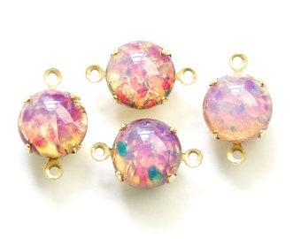 Vintage Harlequin Opal Glass Stones 2 Loop Brass Settings 12mm (4) rnd004DD2