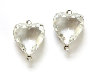 Crystal Clear Glass Heart Pendants 2 Loop Silver Plated Setting 15mm hrt002G2