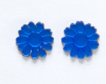 German Matte Blue Glass Flower Cabochon 10mm (2) cab661B