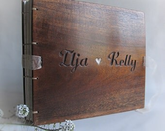 Personalized wedding guest books Wood book Custom made book Reclaimed wood