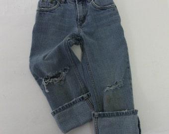 Kids Raw Destroyed Levi Skinny Jeans 5