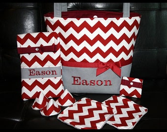 Diaper Bag~Diaper Tote Set~Chevron Monogrammed Diaper Tote Bag With Wipes Case, Pacifier Pouch and More