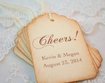 Cheers Wine Tags Wedding Favor Tags Personalized