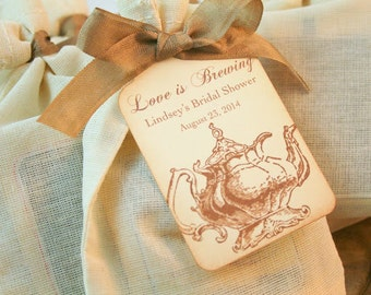 Tea Bag Favors Fully Assembled with Personalized Tag Lg. Teapot Wedding Bridal Shower Muslin Bags Love is Brewing Set of 10