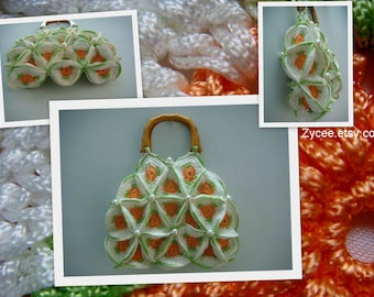 Crocheted bag, wooden handles, mixed color orange, raise hands