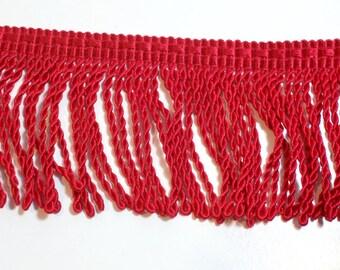 Red Fringe, Red Flag Bullion Fringe Sewing Trim 2 inches wide x 3 yards