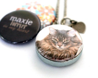 Custom Cat Locket Necklace - Personalized, Magnetic, Recycled Set by Polarity, YOUR Cat's Name and Picture, Ships FAST