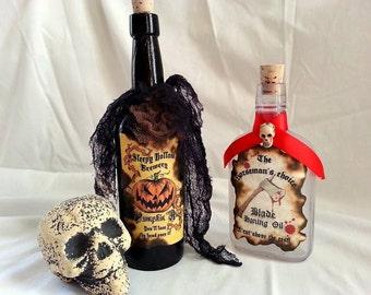 SLEEPY HOLLOW Headless Horseman potion spell bottle props Pumpkin Ale blade Oil
