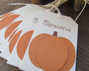 So Grateful Pumpkin Tags. Thanksgiving. Set of 10. Holiday Table. Place Settings. Die Cut Pumpkins.