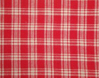 Basic Plaid Red Cotton Homespun Fabric Destash 63 x 44