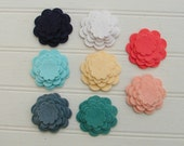 Coral and Mint Wool Felt Flowers - Die Cut - Scallop Circle Flowers - Mod Squad Collection Flowers - Set of 16 Flowers