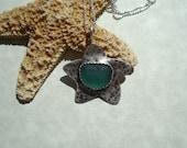 Aqua Sea Glass Starfish Bezel Pendant Necklace- Sterling Silver Sea Glass Necklace