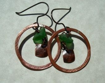 Sea Glass Earrings- Forged Copper Green Seaglass -Sea Glass Jewelry