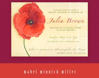 RED POPPY Floral DIY Printable Bridal/Wedding Shower Invitation - custom text