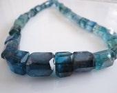 1/2 STRAND---Beautiful Paraiba Blue Fluorite Faceted Nuggets---last strand