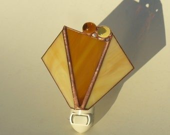 Honey and Amber Stained Glass Night Light with Glass Nuggets