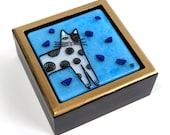 Cat With Spots Fused Glass Treasure Box/ OOAK Art by Susan Faye