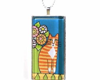 Orange Tuxedo Cat Jewelry/ Ginger Tabby Art Glass Pendant by Susan Faye