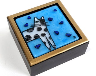 Cat With Spots Fused Glass Treasure Box/ OOAK Art by Susan Faye