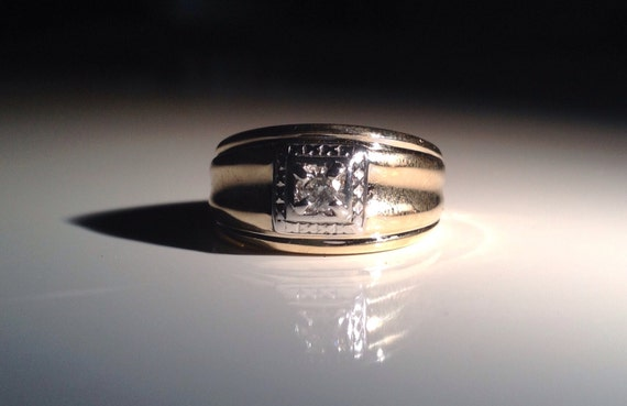 1955 14 KT Gold Diamond Ring for Him Size 10