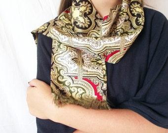 Vintage Emily Wetherby Scarf - Designer Boho Sash - Coat Scarf - Long Wrap