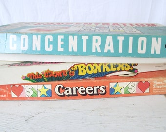 Vintage Board Games - Choice of Bonkers, Careers, Concentration - 3rd Edition - Milton Bradley and Parker Brothers