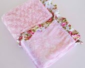 BEAUTIFUL BABY BLANKET..... Pretty floral satin ruffled trim with pink minky swirl and Paisley satin ....Gorgeous baby shower gift