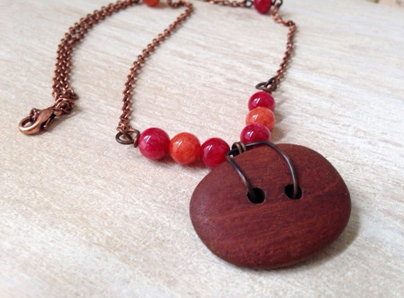 Moroccan Handmade Copper Necklace Red Necklace Asymmetrical Necklace Rustic Handmade Jewelry Stone Timber Jewellery San Diego California